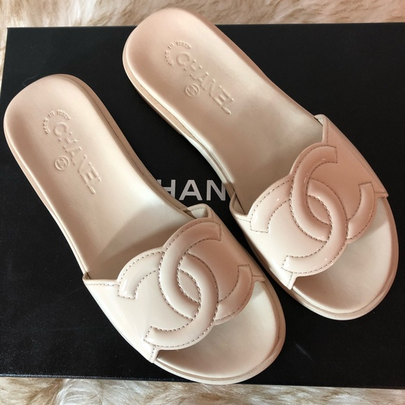 Authentic Nude Patent Leather Chanel